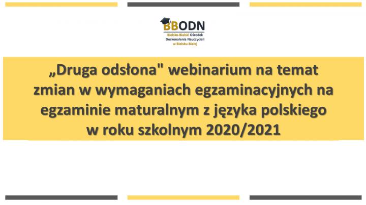 Obrazek newsa Webinarium na temat zmian w wymaganiach egzaminacyjnych na egzaminie maturalnym z języka polskiego w roku szkolnym 2020/2021